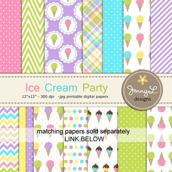 Ice Cream, Balloons, Bunting Party Cliparts