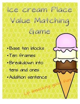 Ice Cream Base Ten Matching Game