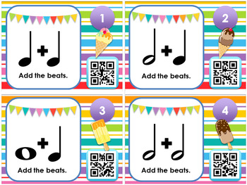 Ice Cream Beats - Notes and Rests QR Code Task Cards