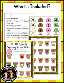Ice Cream Beginning Sounds Match File Folder Literacy Center Activity