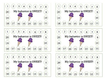 Ice Cream Behavior Punch Cards [Color & BW]