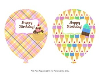 Ice Cream Birthday Balloons - 4 different designs