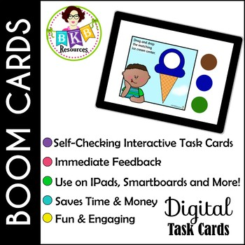 Ice Cream COLOR MATCH ● Digital Task Cards ● Boom Cards ● Color Recognition
