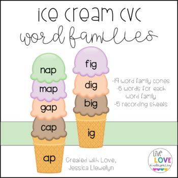 Ice Cream CVC Word Families