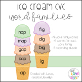 Ice Cream CVC Word Families