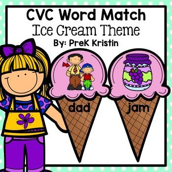 CVC Word Match: Ice Cream Theme