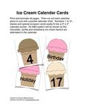 Ice Cream Calendar Cards with an ABC Pattern