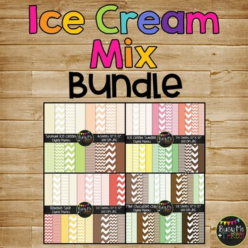 Ice Cream Chevron COMBO Digital Papers {Commercial Use Dig