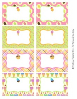 Ice Cream Classroom Decor Bin Tag Labels