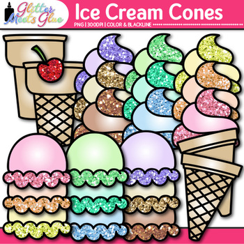 Build an Ice Cream Clip Art {Summer Graphics for Digital Resources & Worksheets}