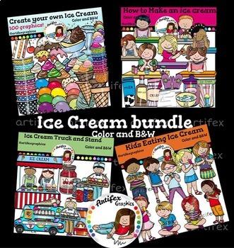 Ice Cream Clip Art Bundle  -Color and B&W- 200 items!