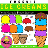 Ice Cream Clip Art FREEBIE | With Movable Piece License