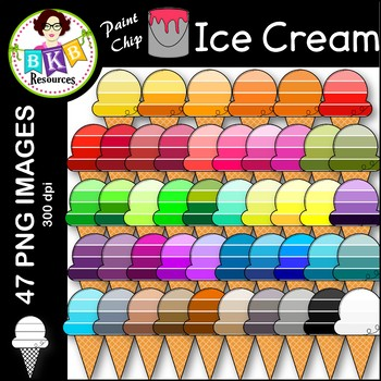 Ice Cream Clip Art ● Paint Chip Ice Cream ● Clip Art