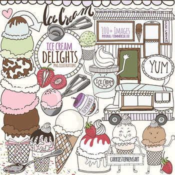 Ice Cream ClipArt Illustrations, Summer Digital Graphics