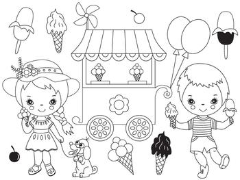 Ice Cream Clipart - Digital Vector Kids ,Boy, Girl, Ice Cream Shop Clip Art