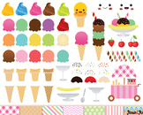 Ice Cream Clipart,Ice cream cone Clip art,Kawaii Ice Cream