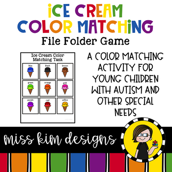 Ice Cream Color Matching Folder Game for Early Childhood Special Education