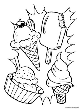 ice cream coloring page pdftim's printables  tpt
