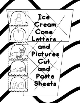Ice Cream Cone Alphabet Cut and Paste Sheets