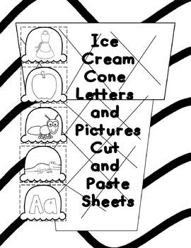 Ice Cream Cone Alphabet Cut and Paste Sheets
