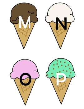 Ice Cream Cone Alphabet Flashcards