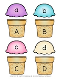 Ice Cream Cone Alphabet Letter Uppercase and Lowercase Match Up Printable Cards