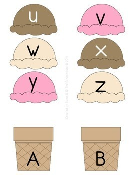 Alphabet ABC Upper and Lower Case Match - Ice Cream