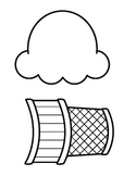 Ice Cream Cone - B&W outline (Many Uses)