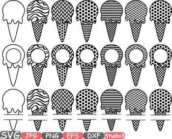 Ice Cream Cone Chevron Frames Split Circle monogram icecream summer Polka 686s