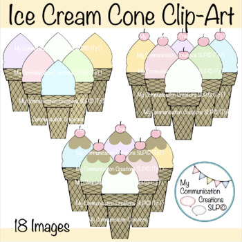 Ice Cream Cone Clip-Art - Set of 18