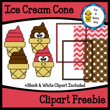 Ice Cream Cone Clipart Freebie-with digital papers & border
