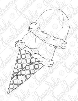 Ice Cream Cone Coloring Pages Soft Serve Scoops PDF Printable Set of Four