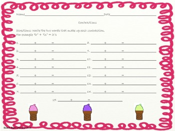 Ice Cream Cone Contractions - Common Core
