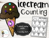 Ice Cream Cone Counting: Beginning Counting Center w/ Puzzles