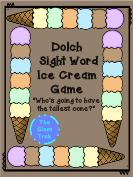 Ice Cream Cone Dolch Sight Word Game