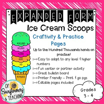 Ice Cream Cone Expanded Form Craftivity & Practice Pages!