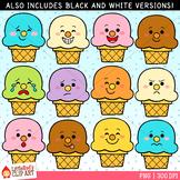Ice Cream Cone Faces Summer Clip Art