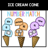 Spring Matching Number Words: Ice Cream Cones Game 1-20
