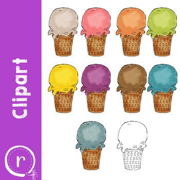 Ice Cream Cone Multicolor Clipart (RDS Clipart)