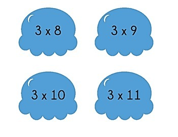 Ice Cream Cone Multiplication Match Game x3