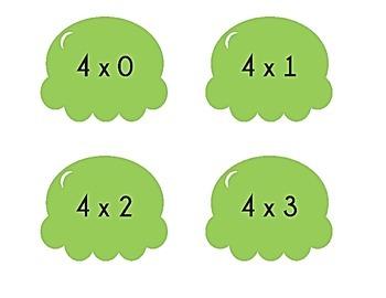 Ice Cream Cone Multiplication Match Game x4
