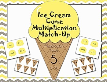 Ice Cream Cone Multiplication Match Game x5