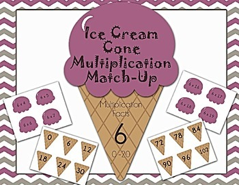 Ice Cream Cone Multiplication Match Game x6