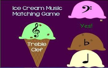 Ice Cream Cone Music Symbol Matching Game -- SmartBoard Game-- Review