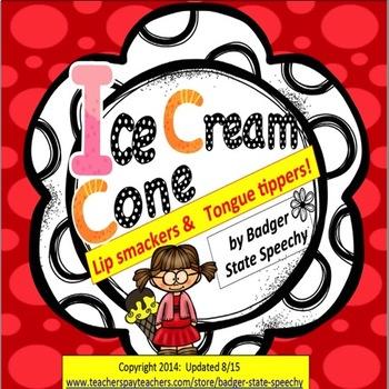 Articulation/Speech: Ice Cream Cone P,B,M,T,D,N words.