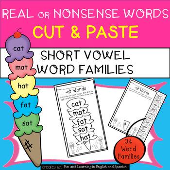 Short Vowel-Real or Nonsense Words-NO PREP Cut&Paste Print