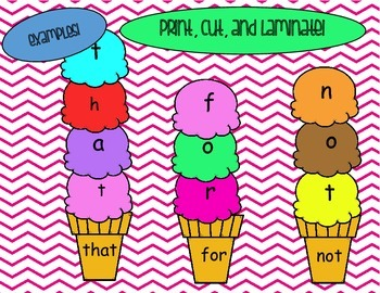 Ice Cream Cone Sight Words - Building Words
