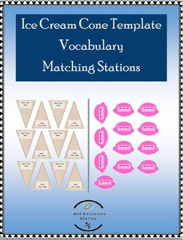 Ice Cream Cone Template Math Vocabulary Matching Stations