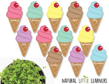 Ice Cream Cone Themed Birthday Chart and Birthday Certificate