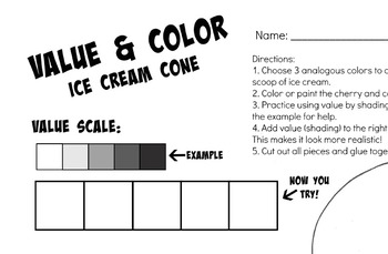 Ice Cream Cone Value and Color Art Project Printable Template Sub Lesson Plan